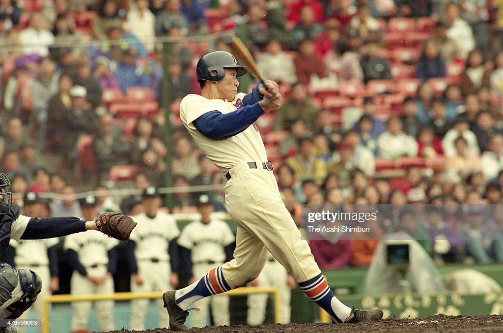 Hideki Matsui of Seiryo hits a three run homerun in the top of the third inning against Miyako during the first round match of the 64th High School...