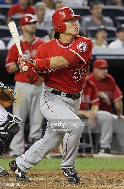 Hideki Matsui of the Los Angeles Angels of Anaheim follows through on a two run seventh inning home run against against the New York Yankees on July...