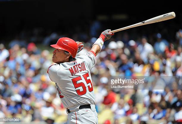 Hideki Matsui of the Los Angeles Angels of Anaheim hits a double inthe third inning against the Los Angeles Dodgers at Dodger Stadium on June 13 2010...
