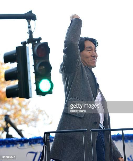 Hideki Matsui of the New York Yankees attends the 2009 New York Yankees World Series victory parade on November 6 2009 in New York City