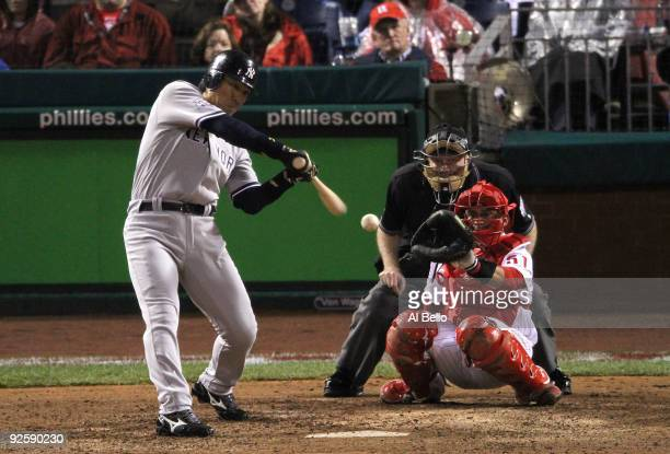 Hideki Matsui of the New York Yankees connects for a homerun in the eigth inning against the Philadelphia Phillies in Game Three of the 2009 MLB...