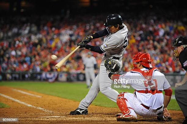 Hideki Matsui of the New York Yankees hits a home run in the top of the eighth inning during Game Three of the 2009 MLB World Series at Citizens Bank...