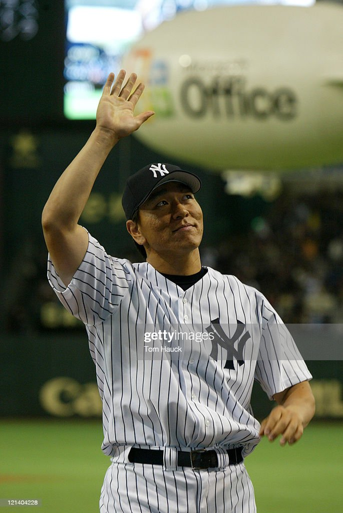 <a gi-track='captionPersonalityLinkClicked' href=/galleries/search?phrase=Hideki+Matsui&family=editorial&specificpeople=157483 ng-click='$event.stopPropagation()'>Hideki Matsui</a> #55 of the New York Yankees.The New York Yankees defeat the Tampa Bay Devil Rays 12-1 at the Tokyo Dome in Tokyo, Japan.