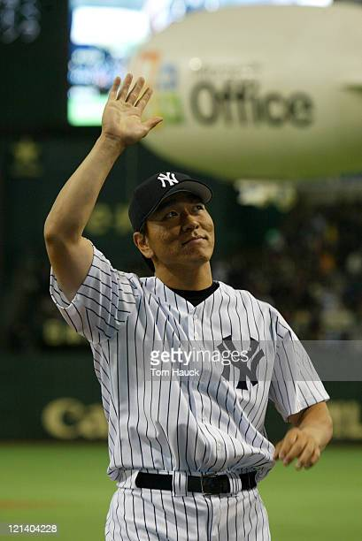 Hideki Matsui of the New York YankeesThe New York Yankees defeat the Tampa Bay Devil Rays 121 at the Tokyo Dome in Tokyo Japan