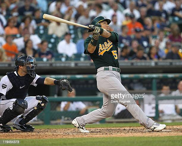 Hideki Matsui of the Oakland Athletics hit a home run in the sixth inning against the Detroit Tigers during an MLB game at Comerica Park on July 20...
