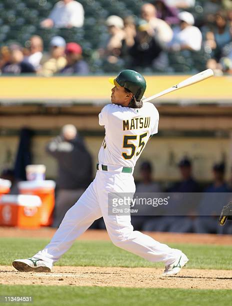 Hideki Matsui of the Oakland Athletics hits a walk off home run to win the game in the tenth inning against the Texas Rangers at OaklandAlameda...