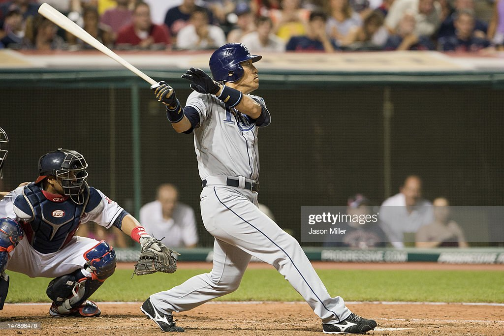 <a gi-track='captionPersonalityLinkClicked' href=/galleries/search?phrase=Hideki+Matsui&family=editorial&specificpeople=157483 ng-click='$event.stopPropagation()'>Hideki Matsui</a> #35 of the Tampa Bay Rays lines out to left during the eighth inning against the Cleveland Indians at Progressive Field on July 5, 2012 in Cleveland, Ohio.