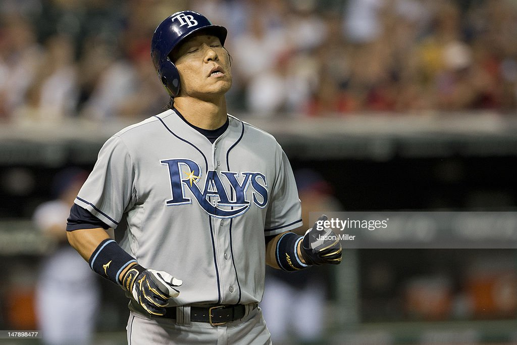 <a gi-track='captionPersonalityLinkClicked' href=/galleries/search?phrase=Hideki+Matsui&family=editorial&specificpeople=157483 ng-click='$event.stopPropagation()'>Hideki Matsui</a> #35 of the Tampa Bay Rays reacts after hitting a line drive to left for an out to end the top of the eighth inning against the Cleveland Indians at Progressive Field on July 5, 2012 in Cleveland, Ohio.