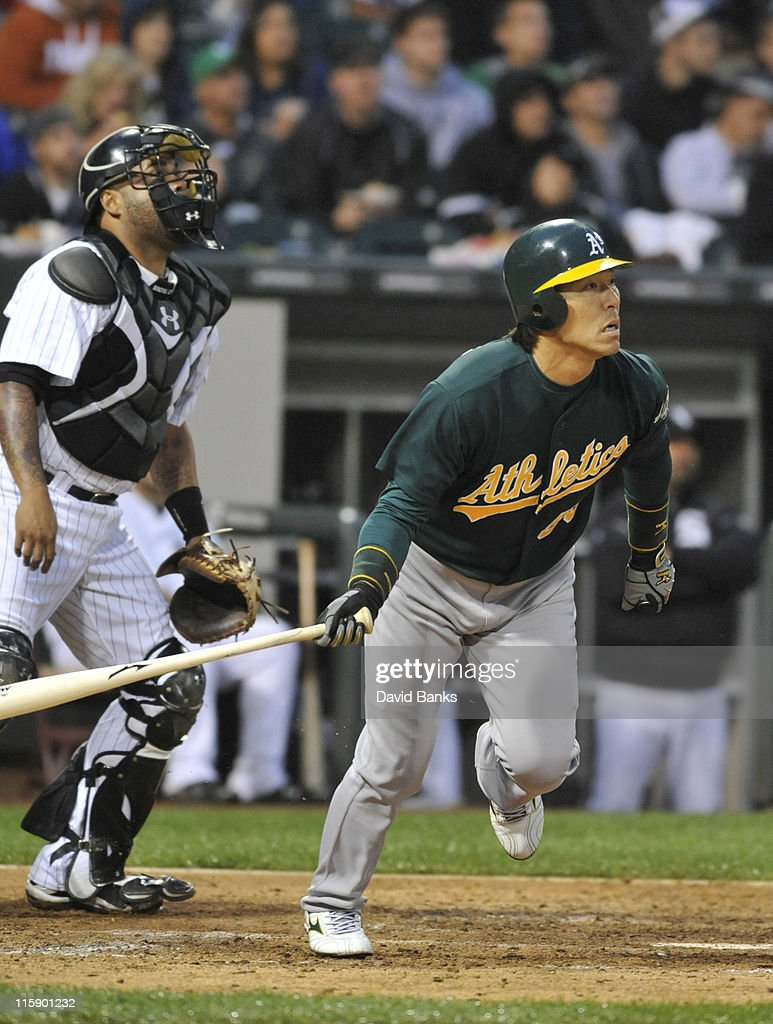 <a gi-track='captionPersonalityLinkClicked' href=/galleries/search?phrase=Hideki+Matsui&family=editorial&specificpeople=157483 ng-click='$event.stopPropagation()'>Hideki Matsui</a>ko # 55 of the Oakland Athletics bats against the Chicago White Sox on June 11, 2011 at U.S. Cellular Field in Chicago, Illinois.
