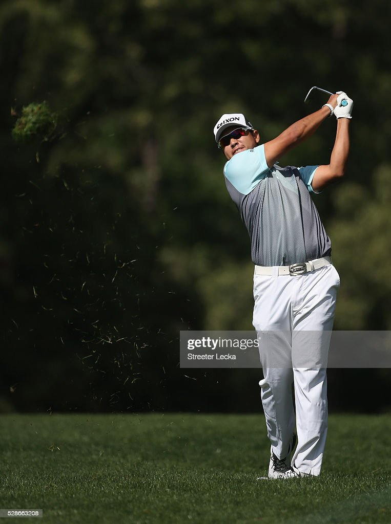 Hideki Matsuyama hits a tee shot on the 11th hole during the second round of the 2016 Wells Fargo Championship at Quail Hollow Club on May 6, 2016 in Charlotte, North Carolina.