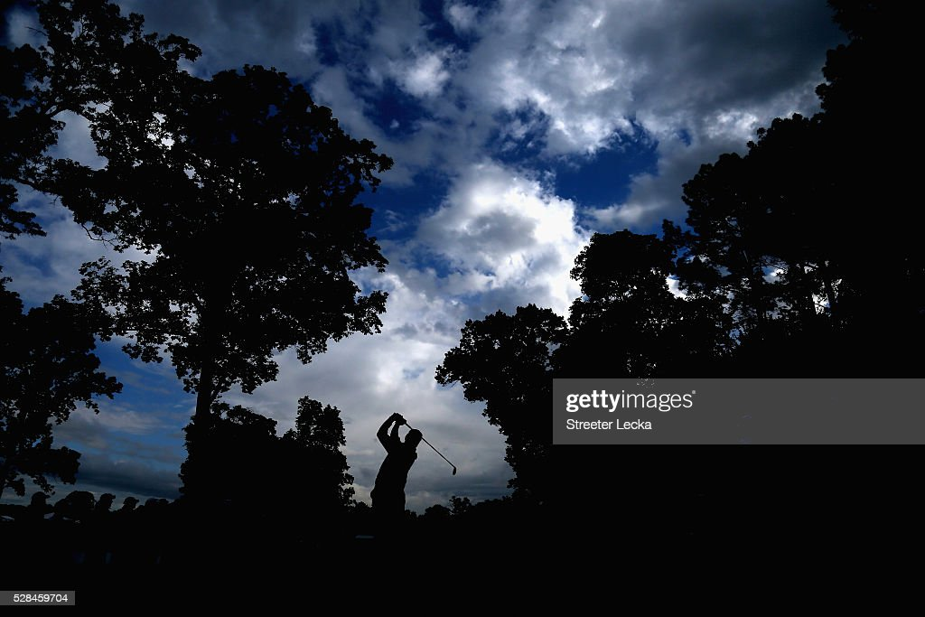 Hideki Matsuyama hits a tee shot on the 14th hole during the first round of the 2016 Wells Fargo Championship at Quail Hollow Club on May 5, 2016 in Charlotte, North Carolina.