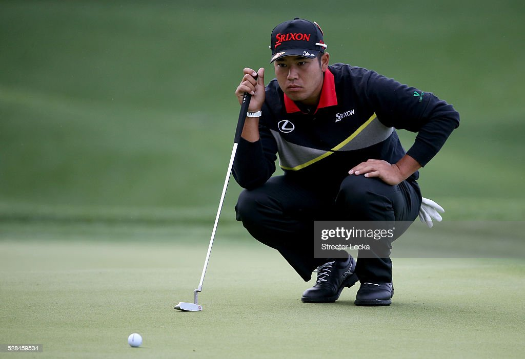 <a gi-track='captionPersonalityLinkClicked' href=/galleries/search?phrase=Hideki+Matsuyama&family=editorial&specificpeople=5566852 ng-click='$event.stopPropagation()'>Hideki Matsuyama</a> lines up a putt on the 14th hole during the first round of the 2016 Wells Fargo Championship at Quail Hollow Club on May 5, 2016 in Charlotte, North Carolina.