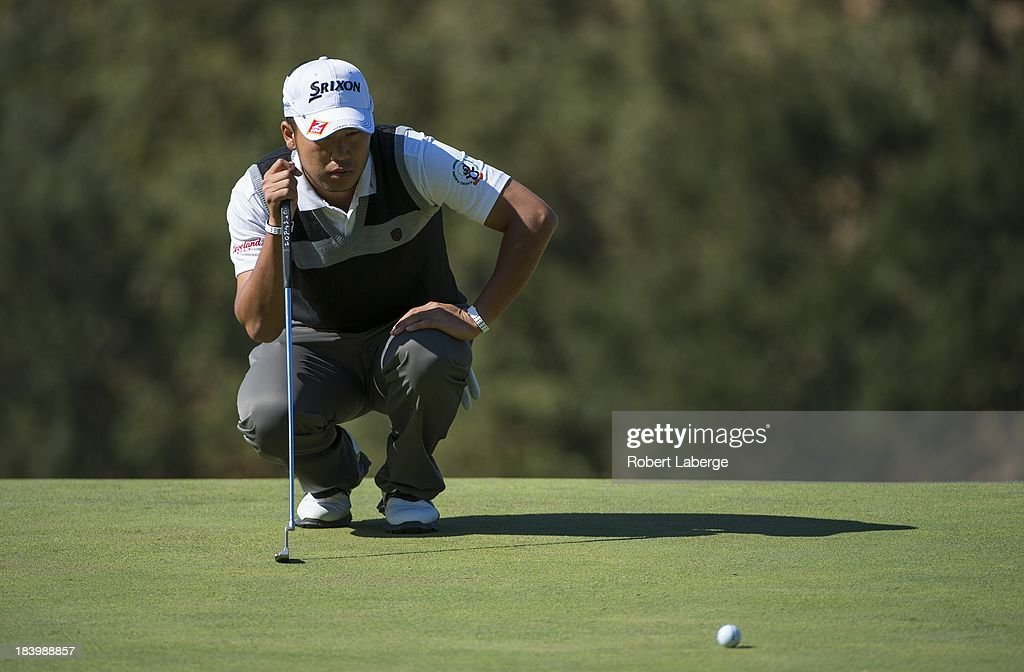 <a gi-track='captionPersonalityLinkClicked' href=/galleries/search?phrase=Hideki+Matsuyama&family=editorial&specificpeople=5566852 ng-click='$event.stopPropagation()'>Hideki Matsuyama</a> of Japan aims for a putt on the seventh hole during round one of the Frys.com Open at the CordeValle Golf Club on October 10, 2013 in San Martin, California.