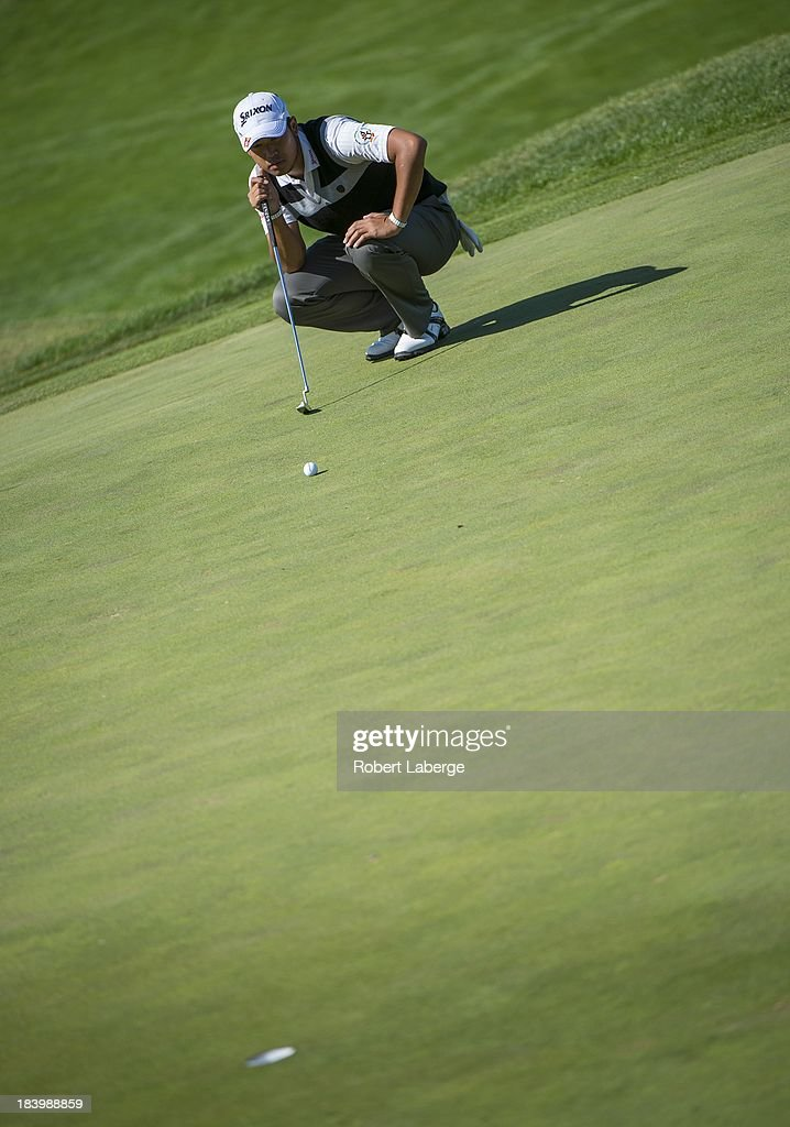 <a gi-track='captionPersonalityLinkClicked' href=/galleries/search?phrase=Hideki+Matsuyama&family=editorial&specificpeople=5566852 ng-click='$event.stopPropagation()'>Hideki Matsuyama</a> of Japan aims for a putt on the sixth hole during round one of the Frys.com Open at the CordeValle Golf Club on October 10, 2013 in San Martin, California.