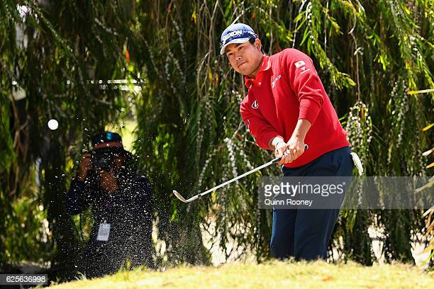 Hideki Matsuyama of Japan chips during day two of the World Cup of Golf at Kingston Heath Golf Club on November 25 2016 in Melbourne Australia