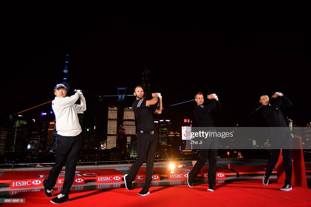 Hideki Matsuyama of Japan, Dustin Johnson of the United States, Henrik Stenson of Sweden and Haotong Li of China pose during a tournament launch event for the WGC - HSBC Champions at The Peninsula Shanghai on October 24, 2017 in Shanghai, China.
