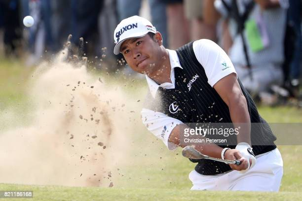 Hideki Matsuyama of Japan hits a bunker shot on the 1st hole during the final round of the 146th Open Championship at Royal Birkdale on July 23 2017...