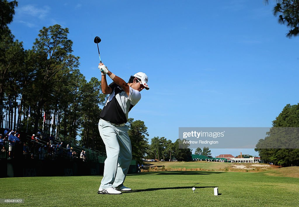 Hideki Matsuyama of Japan hits a shot during a practice round prior to the start of the 114th U.S. Open at Pinehurst Resort & Country Club, Course No. 2 on June 11, 2014 in Pinehurst, North Carolina.