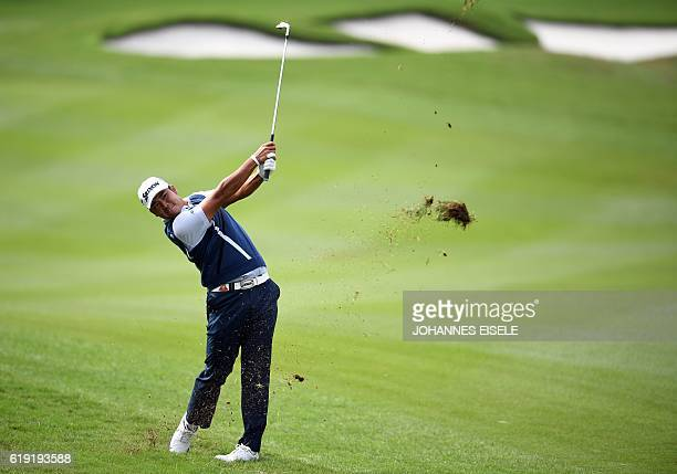 Hideki Matsuyama of Japan hits a shot during the final round of the World Golf ChampionshipsHSBC Champions golf tournament in Shanghai on October 30...