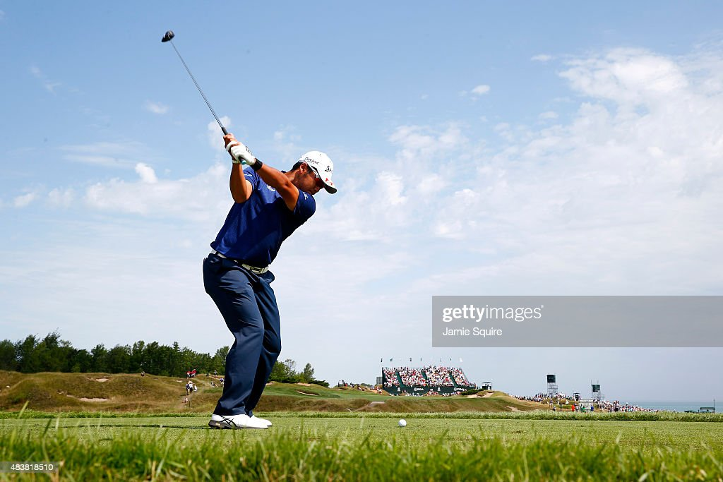<a gi-track='captionPersonalityLinkClicked' href=/galleries/search?phrase=Hideki+Matsuyama&family=editorial&specificpeople=5566852 ng-click='$event.stopPropagation()'>Hideki Matsuyama</a> of Japan hits a tee shot on the 6th hole during the first round of the 2015 PGA Championship at Whistling Straits on August 13, 2015 in Sheboygan, Wisconsin.