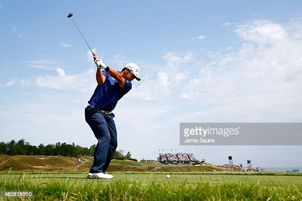 Hideki Matsuyama of Japan hits a tee shot on the 6th hole during the first round of the 2015 PGA Championship at Whistling Straits on August 13 2015...