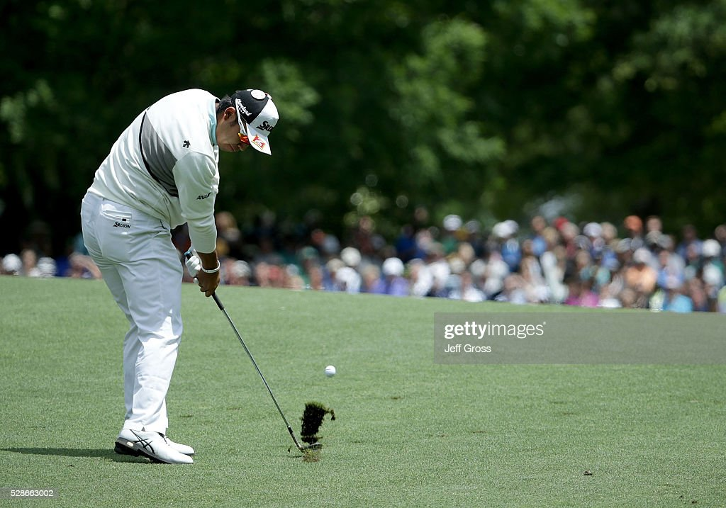 Hideki Matsuyama of Japan hits his approach shot on the fifth hole during the second round of the Wells Fargo Championship at Quail Hollow Club on May 6, 2016 in Charlotte, North Carolina.