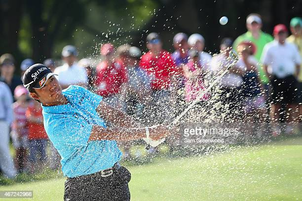 Hideki Matsuyama of Japan hits his second shot from a bunker on the second hole during the final round of the Arnold Palmer Invitational Presented By...