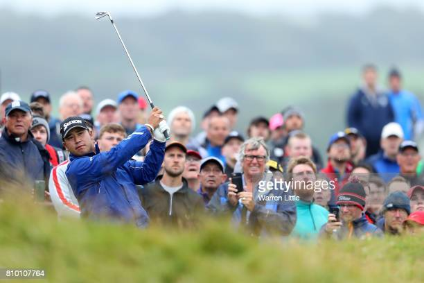 Hideki Matsuyama of Japan hits his second shot on the 16th hole during day two of the Dubai Duty Free Irish Open at Portstewart Golf Club on July 7...