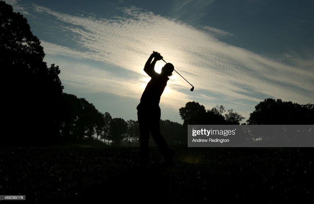 Hideki Matsuyama of Japan hits his second shot on the tenth hole during the first round of the 96th PGA Championship at Valhalla Golf Club on August 7, 2014 in Louisville, Kentucky.