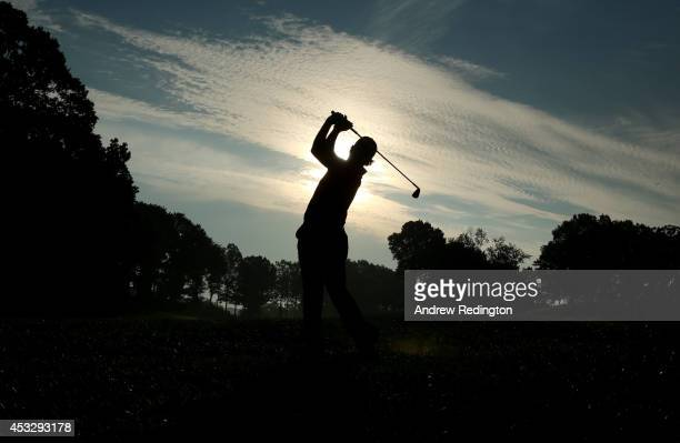 Hideki Matsuyama of Japan hits his second shot on the tenth hole during the first round of the 96th PGA Championship at Valhalla Golf Club on August...