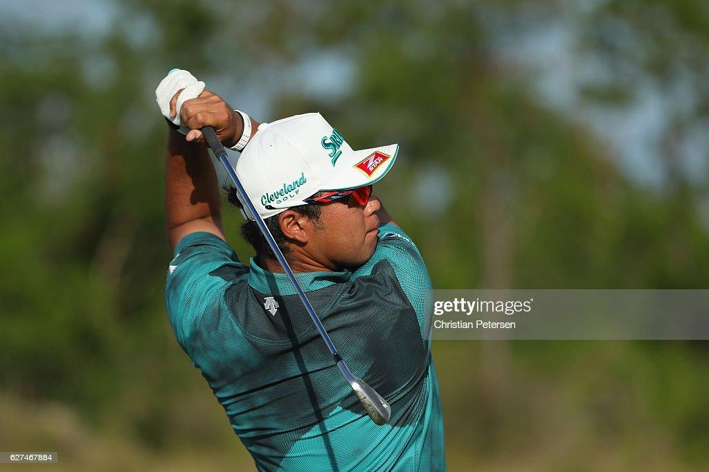 Hideki Matsuyama of Japan hits his tee shot on the 12th hole during round three of the Hero World Challenge at Albany, The Bahamas on December 3, 2016 in Nassau, Bahamas.