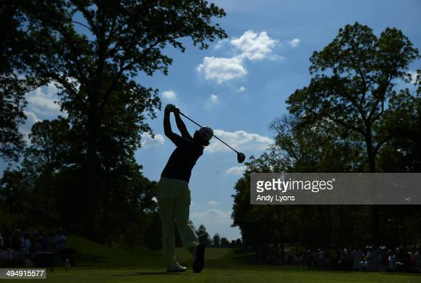 Hideki Matsuyama of Japan hits his tee shot on the 15th hole during the third round of the Memorial Tournament presented by Nationwide Insurance at...