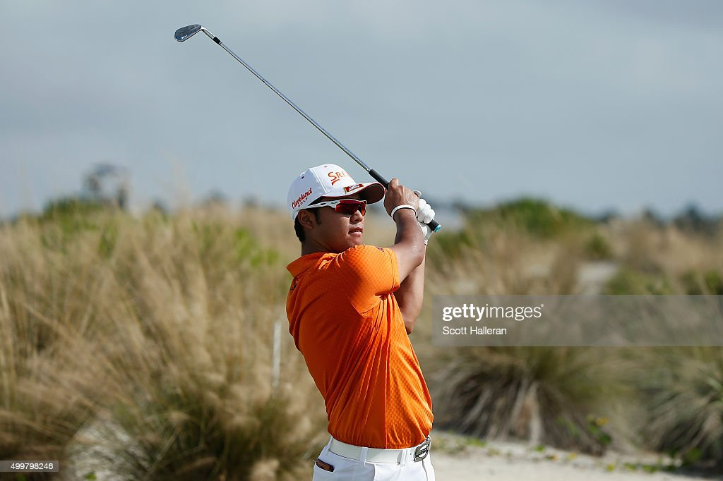 Hideki Matsuyama of Japan hits his tee shot on the second hole during the first round of the Hero World Challenge at Albany, The Bahamas on December 3, 2015 in Nassau, Bahamas