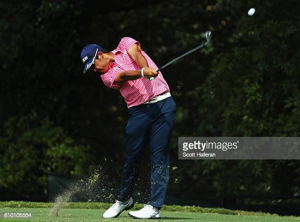 Hideki Matsuyama of Japan hits his tee shot on the second hole during the third round of the TOUR Championship at East Lake Golf Club on September 24...