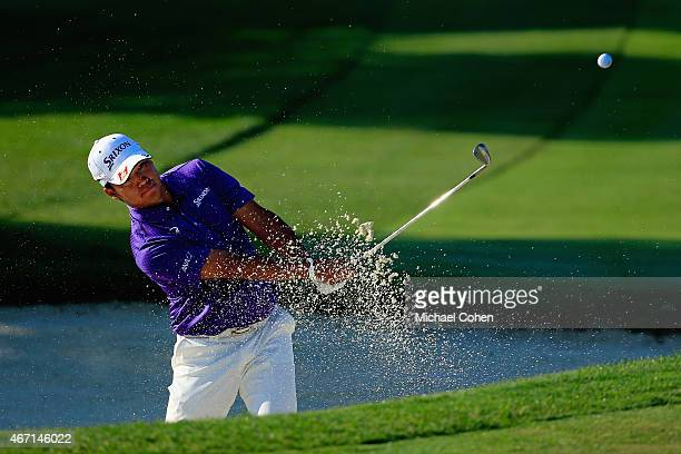 Hideki Matsuyama of Japan hits his third shot from a bunker on the first hole during the third round of the Arnold Palmer Invitational Presented By...