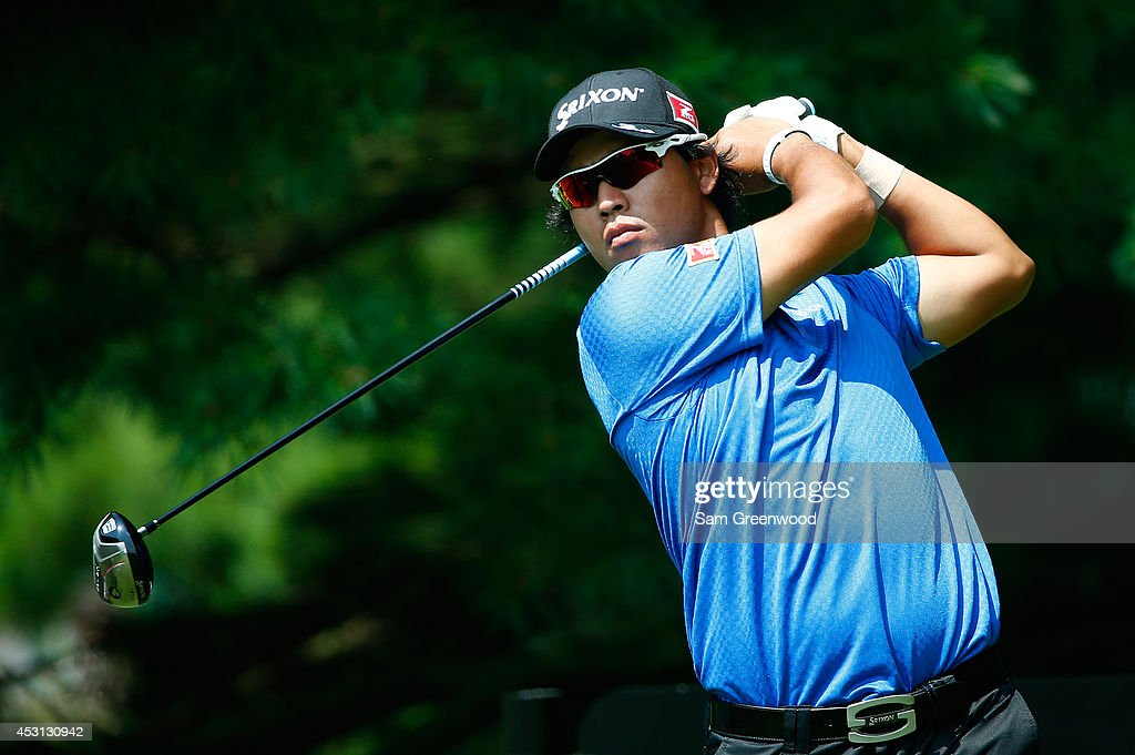 Hideki Matsuyama of Japan hits off the second tee during the final round of the World Golf Championships-Bridgestone Invitational at Firestone Country Club South Course on August 3, 2014 in Akron, Ohio.