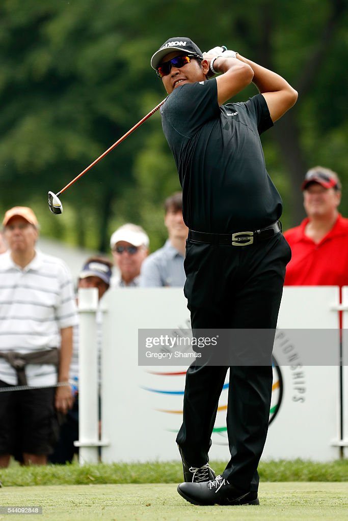 <a gi-track='captionPersonalityLinkClicked' href=/galleries/search?phrase=Hideki+Matsuyama&family=editorial&specificpeople=5566852 ng-click='$event.stopPropagation()'>Hideki Matsuyama</a> of Japan hits off the third tee during the second round of the World Golf Championships - Bridgestone Invitational at Firestone Country Club South Course on July 1, 2016 in Akron, Ohio.