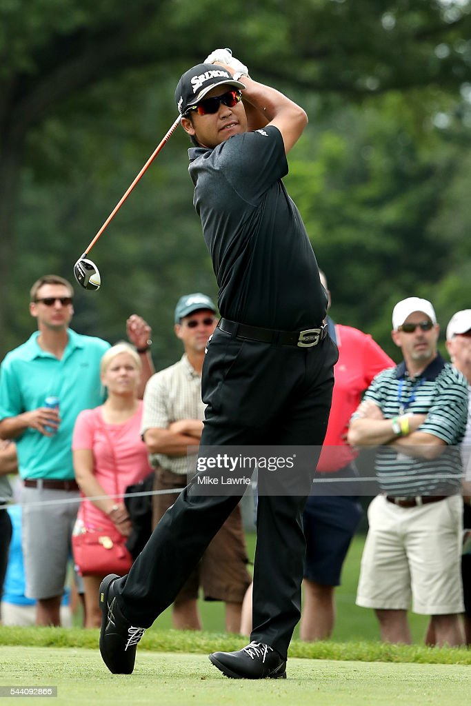 Hideki Matsuyama of Japan hits off the third tee during the second round of the World Golf Championships - Bridgestone Invitational at Firestone Country Club South Course on July 1, 2016 in Akron, Ohio.