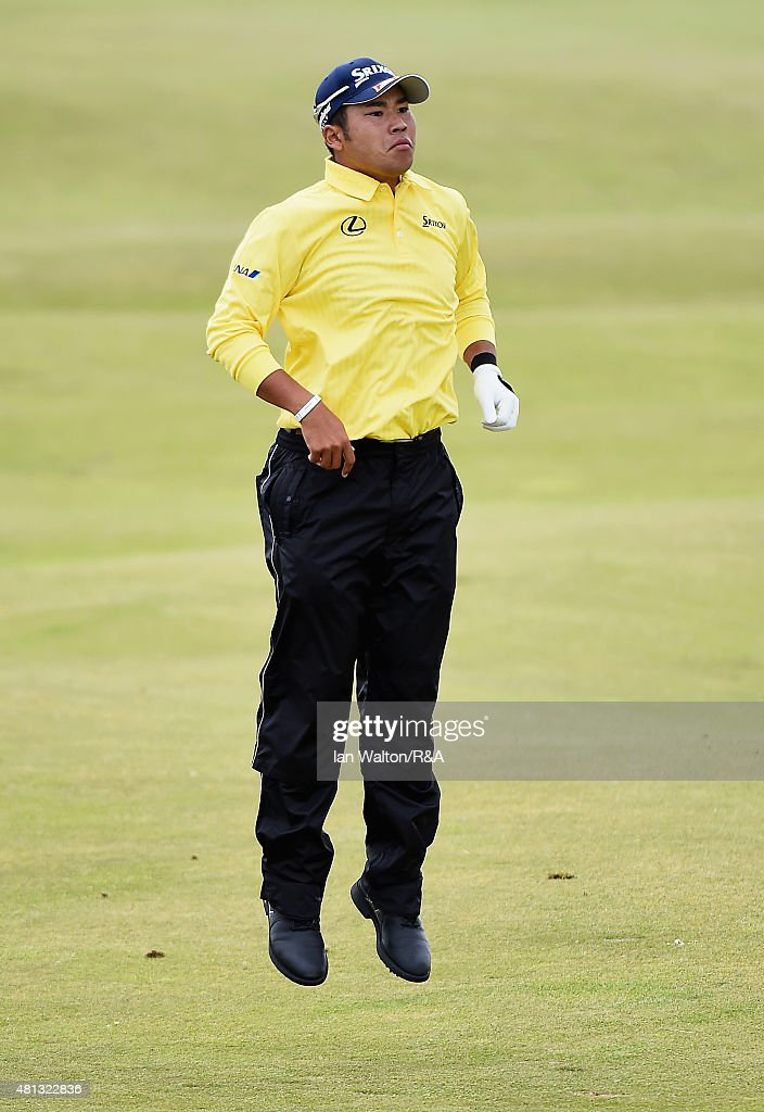 Hideki Matsuyama of Japan jumps in the air before hitting his second shot on the fourth hole during the third round of the 144th Open Championship at The Old Course on July 19, 2015 in St Andrews, Scotland.