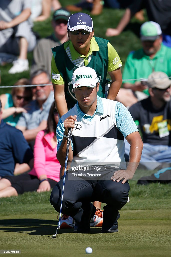 <a gi-track='captionPersonalityLinkClicked' href=/galleries/search?phrase=Hideki+Matsuyama&family=editorial&specificpeople=5566852 ng-click='$event.stopPropagation()'>Hideki Matsuyama</a> of Japan lines up a putt on the eighth hole during the third round of the Waste Management Phoenix Open at TPC Scottsdale on February 6, 2016 in Scottsdale, Arizona.