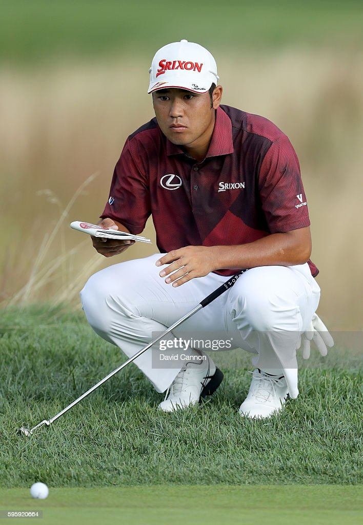 Hideki Matsuyama of Japan lines up his fourth shot on the 12th hole during the second round of The Barclays in the PGA Tour FedExCup PlayOffs on the...