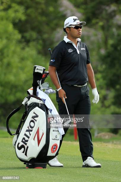 Hideki Matsuyama of Japan lines up his shot on the 2nd hole of his match during round two of the World Golf ChampionshipsDell Technologies Match Play...