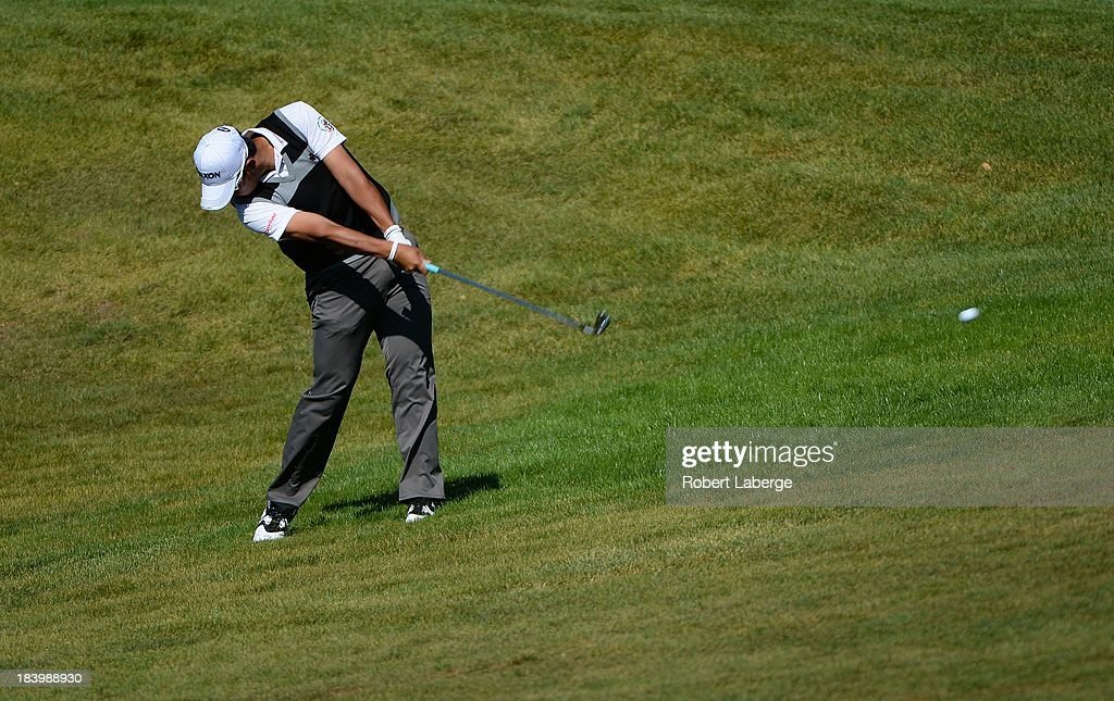 <a gi-track='captionPersonalityLinkClicked' href=/galleries/search?phrase=Hideki+Matsuyama&family=editorial&specificpeople=5566852 ng-click='$event.stopPropagation()'>Hideki Matsuyama</a> of Japan makes a shot out of the rough on the sixth hole during round one of the Frys.com Open at the CordeValle Golf Club on October 10, 2013 in San Martin, California.