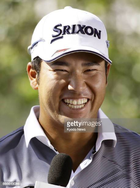 Hideki Matsuyama of Japan meets with reporters after completing the final round of the Masters Tournament at Augusta National Golf Club on April 9...
