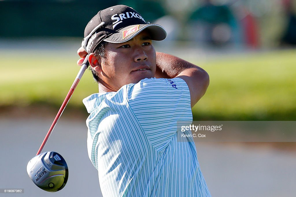 <a gi-track='captionPersonalityLinkClicked' href=/galleries/search?phrase=Hideki+Matsuyama&family=editorial&specificpeople=5566852 ng-click='$event.stopPropagation()'>Hideki Matsuyama</a> of Japan plays a shot during a practice round prior to the start of the 2016 Masters Tournament at Augusta National Golf Club on April 4, 2016 in Augusta, Georgia.