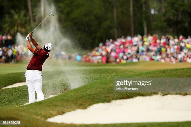 Hideki Matsuyama of Japan plays a shot during the final round of THE PLAYERS Championship at the Stadium course at TPC Sawgrass on May 15 2016 in...