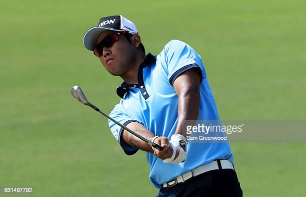 Hideki Matsuyama of Japan plays a shot during the ProAm Tounament prior to the Sony Open In Hawaii at Waialae Country Club on January 11 2017 in...