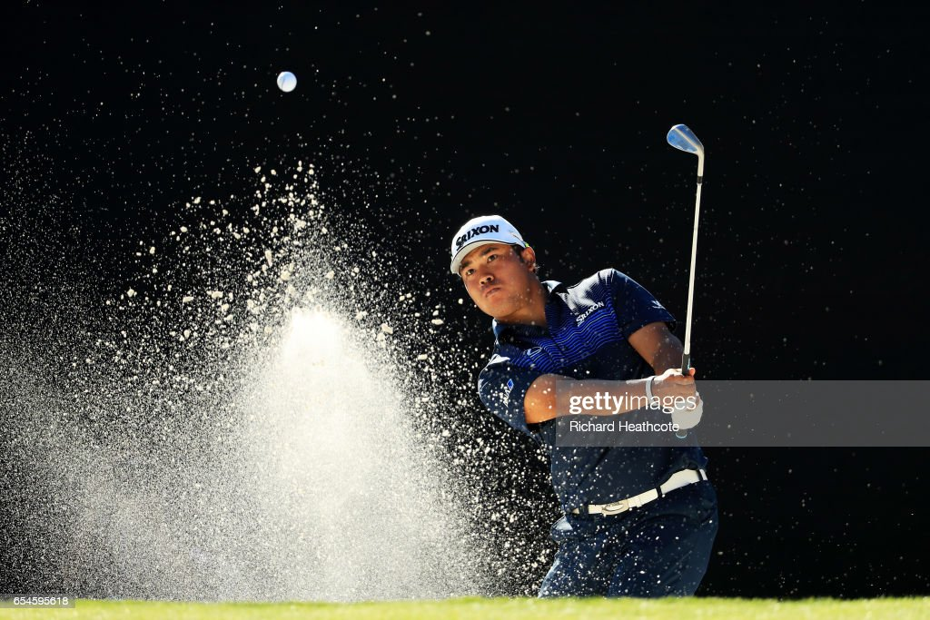 Hideki Matsuyama of Japan plays a shot from a bunker on the 17th hole during the second round of the Arnold Palmer Invitational Presented By MasterCard at Bay Hill Club and Lodge on March 17, 2017 in Orlando, Florida.