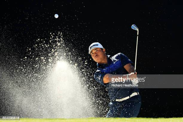 Hideki Matsuyama of Japan plays a shot from a bunker on the 17th hole during the second round of the Arnold Palmer Invitational Presented By...