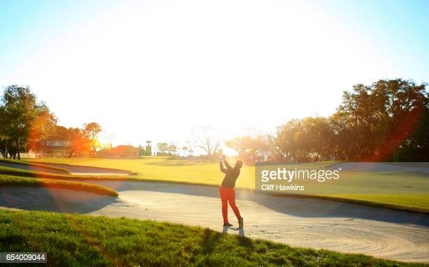 Hideki Matsuyama of Japan plays a shot from a bunker on the tenth hole during the first round of the Arnold Palmer Invitational Presented By...